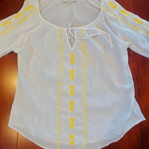Ann Taylor LOFT bohemian embroidered blouse